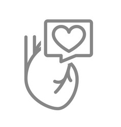 Heart with in speech bubble line icon vector