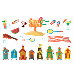 Holidays on the beach objects set vector