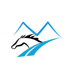 Horse in the mountain road logo vector