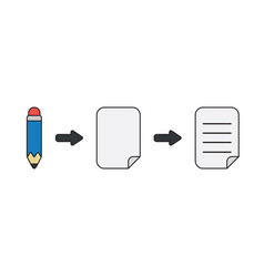 Icon concept pencil with papers vector