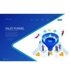 isometric online funnel generation sales customer vector image