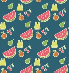 Juicy summer beach fruits seamless pattern vector