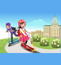 Kids riding scooter vector