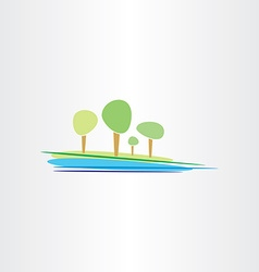 landscape river and trees design vector image