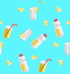 Lemon and lemonade seamless pattern vector