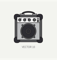 Line flat color icon musical equipment - vector