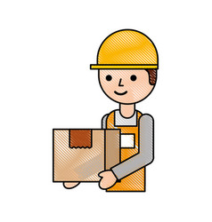 logistic company courier delivery man character vector image
