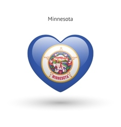 Love Minnesota state symbol Heart flag icon vector