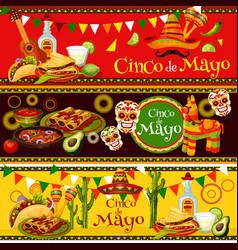 Mexican cinco de mayo fiesta food banners vector