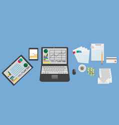 mockup business table with elements office vector image