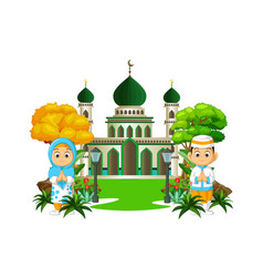 Mosque with kids cartoon vector