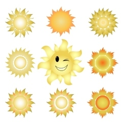 nine icons suns vector image