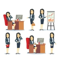Office businesswoman in various situations vector image