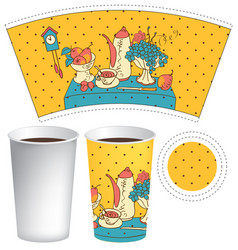 paper cup for hot drink with doodle still life vector image vector image