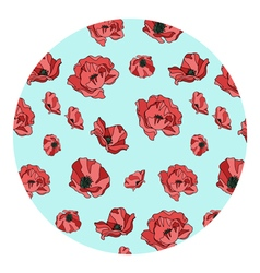 Pattern of red poppies vector