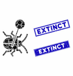Pinned bug mosaic and grunge rectangle extinct vector