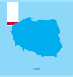 Poland country map with flag over blue background vector