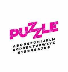 Puzzle font design vector