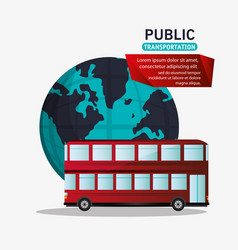 Red bus two storied tourism public transport vector