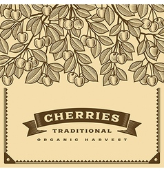 Retro cherry harvest card brown vector image
