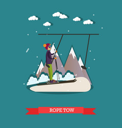 Rope tow in flat style vector