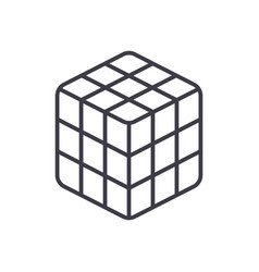 Rubik cube line icon sign o vector