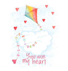 saint valentines day hand drawn card vector image