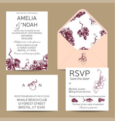 save the date card with grape sketch vector image