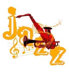 saxophone and trumpet entwined with music notes vector image