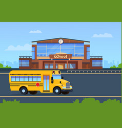 School building college exterior with yellow bus vector