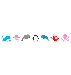 Sea ocean animal fauna set line fish whaledolphin vector