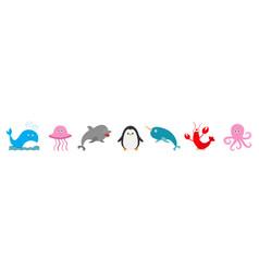 sea ocean animal fauna set line fish whaledolphin vector image