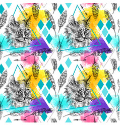 Seamless pattern sketching cat vector
