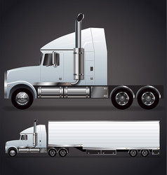 Semi trailer truck long nose vector