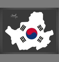 seoul map with south korean national flag vector image