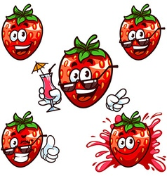 Set cartoon character - Happy strawberry vector