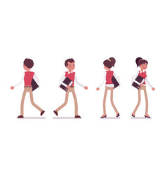 set of male and female office worker walking rear vector image