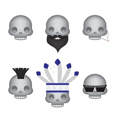 Set of skull emoticon vector image