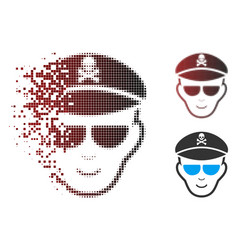 Shredded pixel halftone evil soldier face icon vector