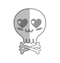 Silhouette kawaii cute tender skull with bones vector