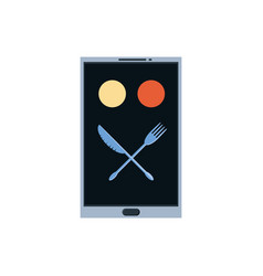 Smartphone with delivery food app and cutleries vector