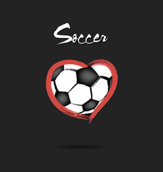 Soccer ball shaped as a heart vector