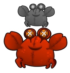 Soft toy fat red crab with eyes buttons vector image