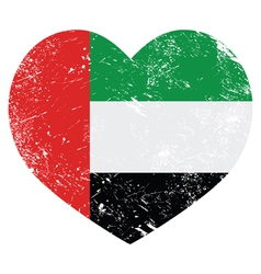 The United Arab Emirates retro heart shaped flag vector