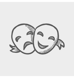 Two mask sketch icon vector
