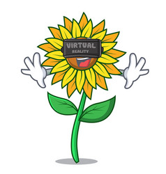 virtual reality sunflower mascot cartoon style vector image