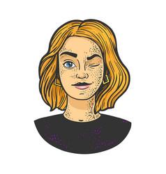 winking girl portrait sketch vector image