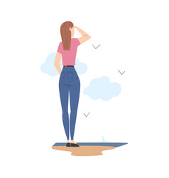 Woman character standing at sea shore and looking vector