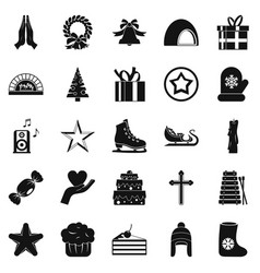 xmas icons set simple style vector image