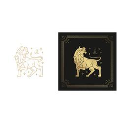 zodiac leo horoscope sign line art silhouette vector image
